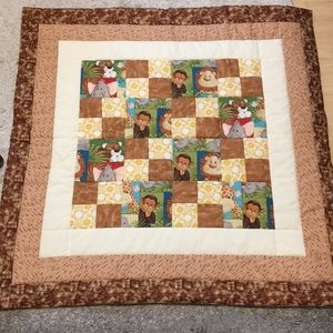 Homemade Monkey Patchwork Brown Baby Quilt NEW
